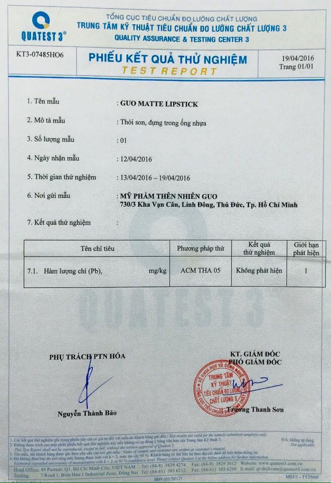 giấy chứng nhận của QUATEST 3 sản phẩm son sạch không chì GUO