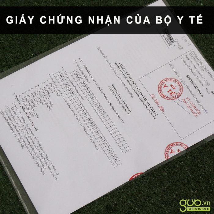 Giấy Chứng nhận của Bộ Y Tế SON MÔI sạch KHÔNG CHÌ của GUO