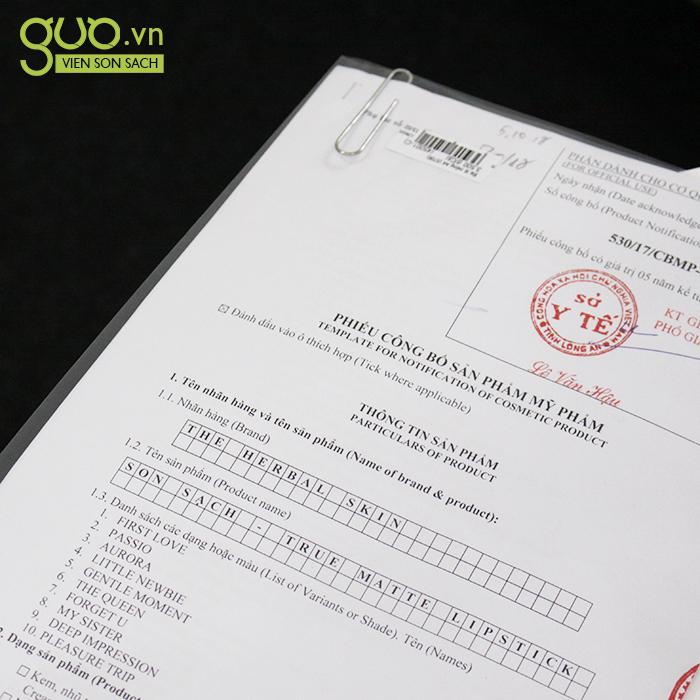 Giấy chứng nhận của Bộ Y Tế cho sản phẩm son sạch không chì GUO