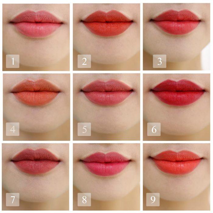 Bảng màu son môi