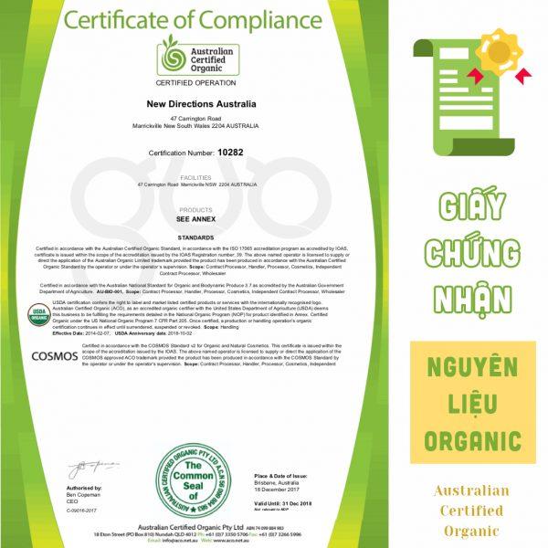 Giấy chứng nhận nguyên liệu đạt chuẩn Organic
